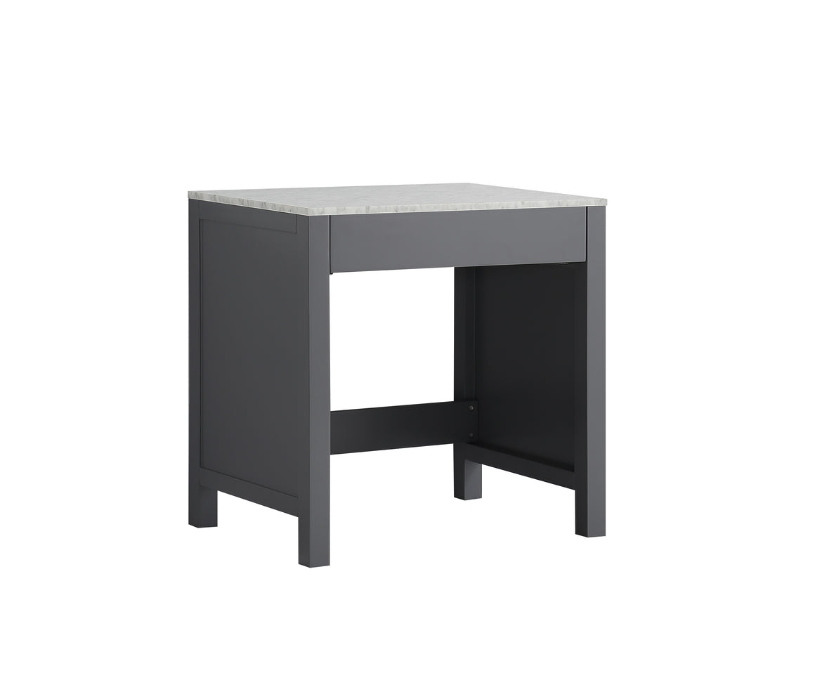 "Jacques 30"" Single Make-Up Table in Dark Grey, White Carrera Marble Top"