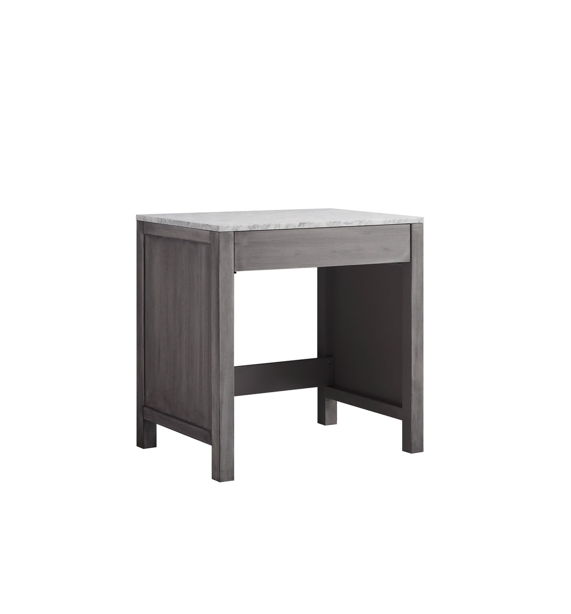 "Jacques 30"" Single Make-Up Table in Distressed Grey, White Carrera Marble Top"