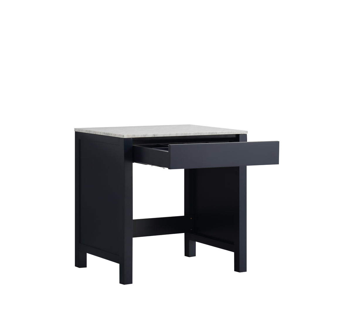 "Jacques 30"" Single Make-Up Table in Navy Blue, White Carrera Marble Top"