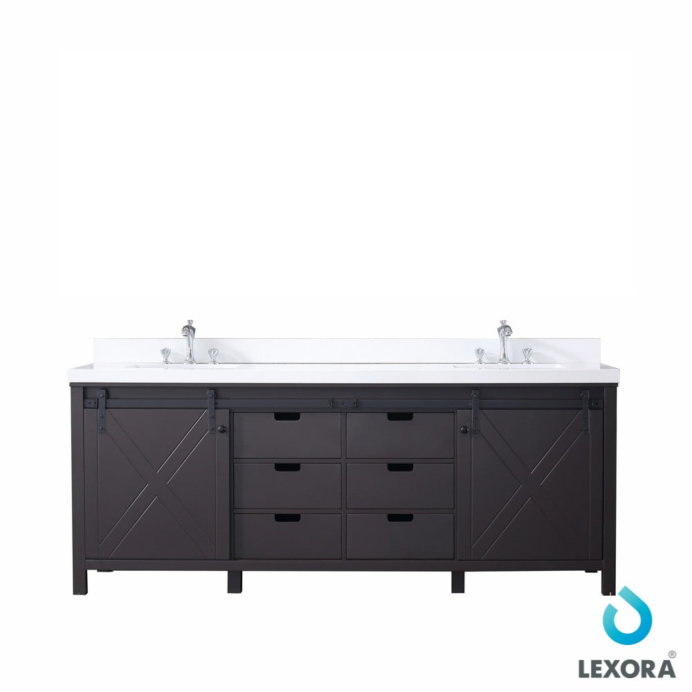 "Marsyas 84"" Double Vanity Brown, White Quartz Top, White Square Sinks and no Mirror"