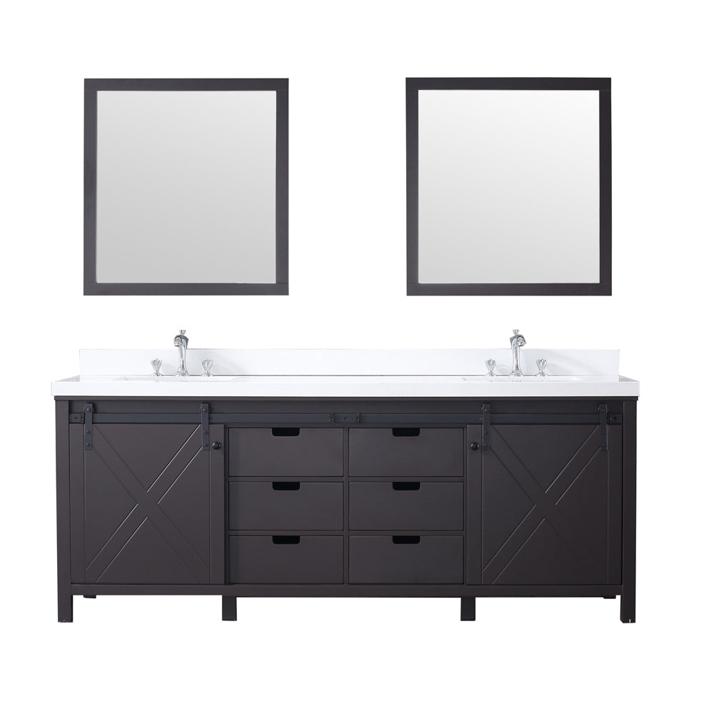 "Marsyas 84"" Double Vanity Brown, White Quartz Top, White Square Sinks and 34"" Mirrors"
