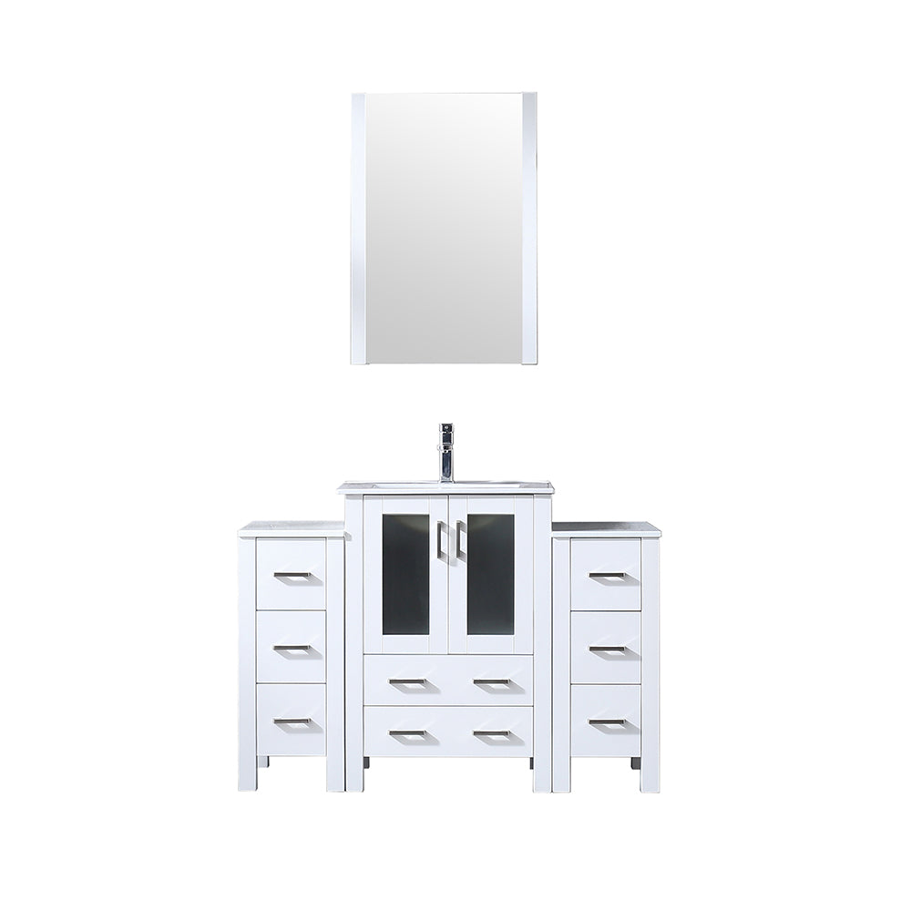 "Volez 48"" Single Vanity White w/ 2 Side Cabinets, Integrated Top, White Integrated Square Sink and 22"" Mirror"