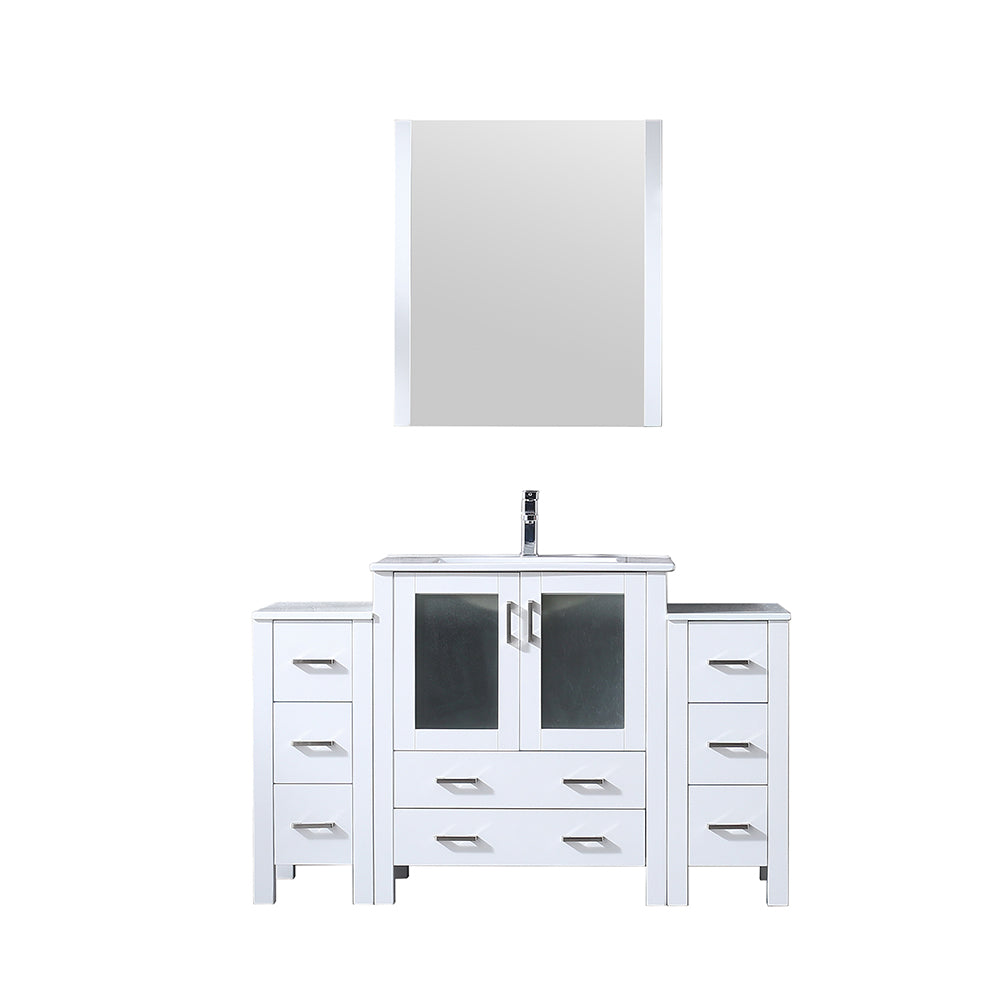 "Volez 54"" Single Vanity White w/ 2 Side Cabinets, Integrated Top, White Integrated Square Sink and 28"" Mirror"