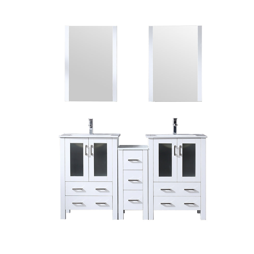 "Volez 60"" Double Vanity White w/ Side Cabinet, Integrated Top, White Integrated Square Sink and 22"" Mirrors"