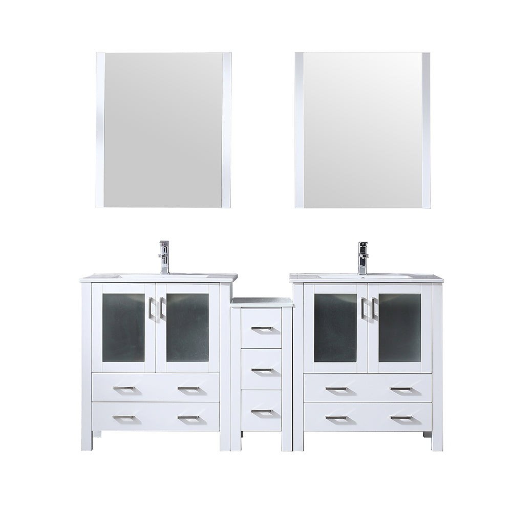 "Volez 72"" Double Vanity White w/ Side Cabinet, Integrated Top, White Integrated Square Sink and 28"" Mirrors"