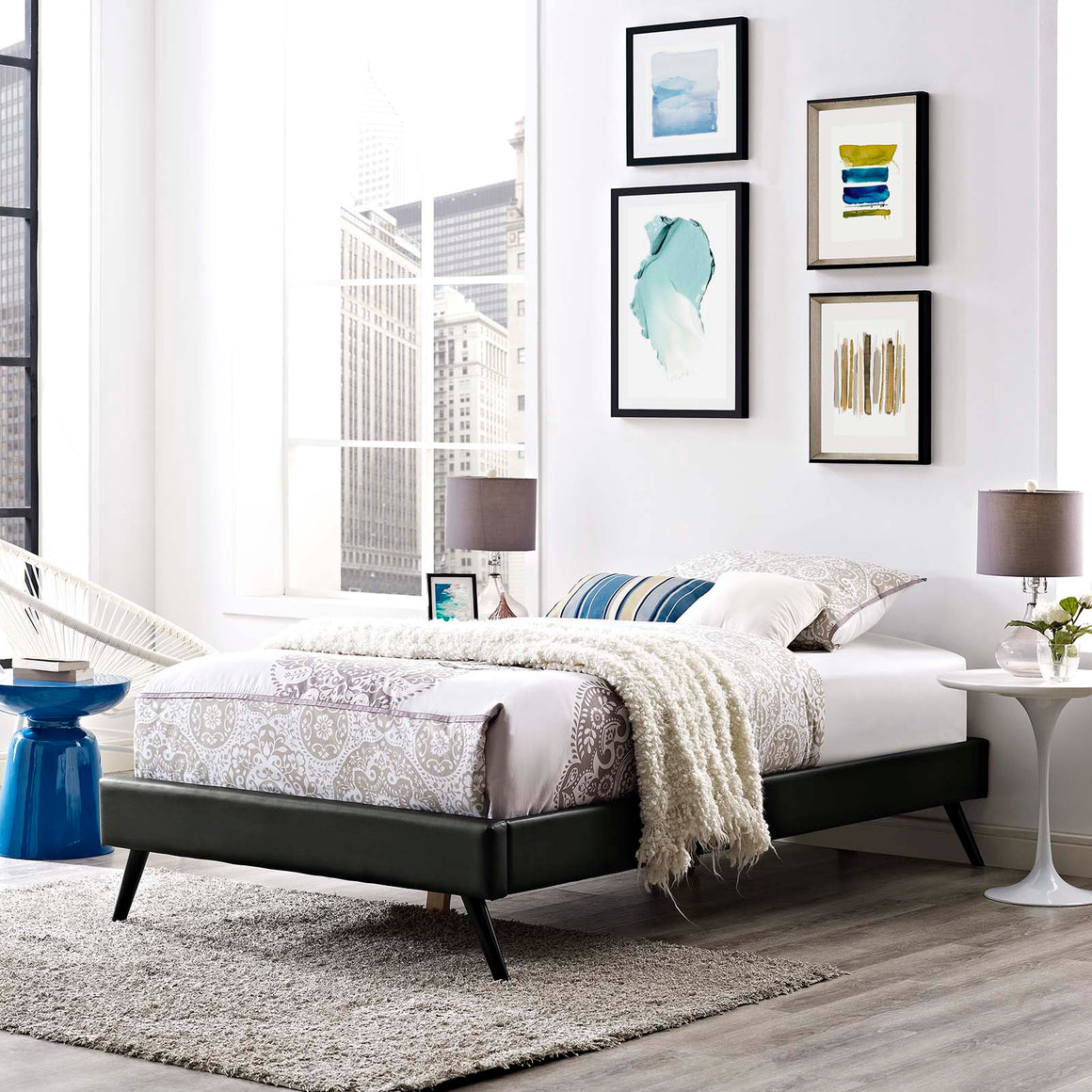 LORYN TWIN VINYL BED FRAME WITH ROUND SPLAYED LEGS