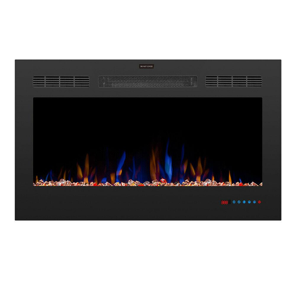 TREXM 36 inch LED Recessed Electric Fireplace with 3 Flame Colors