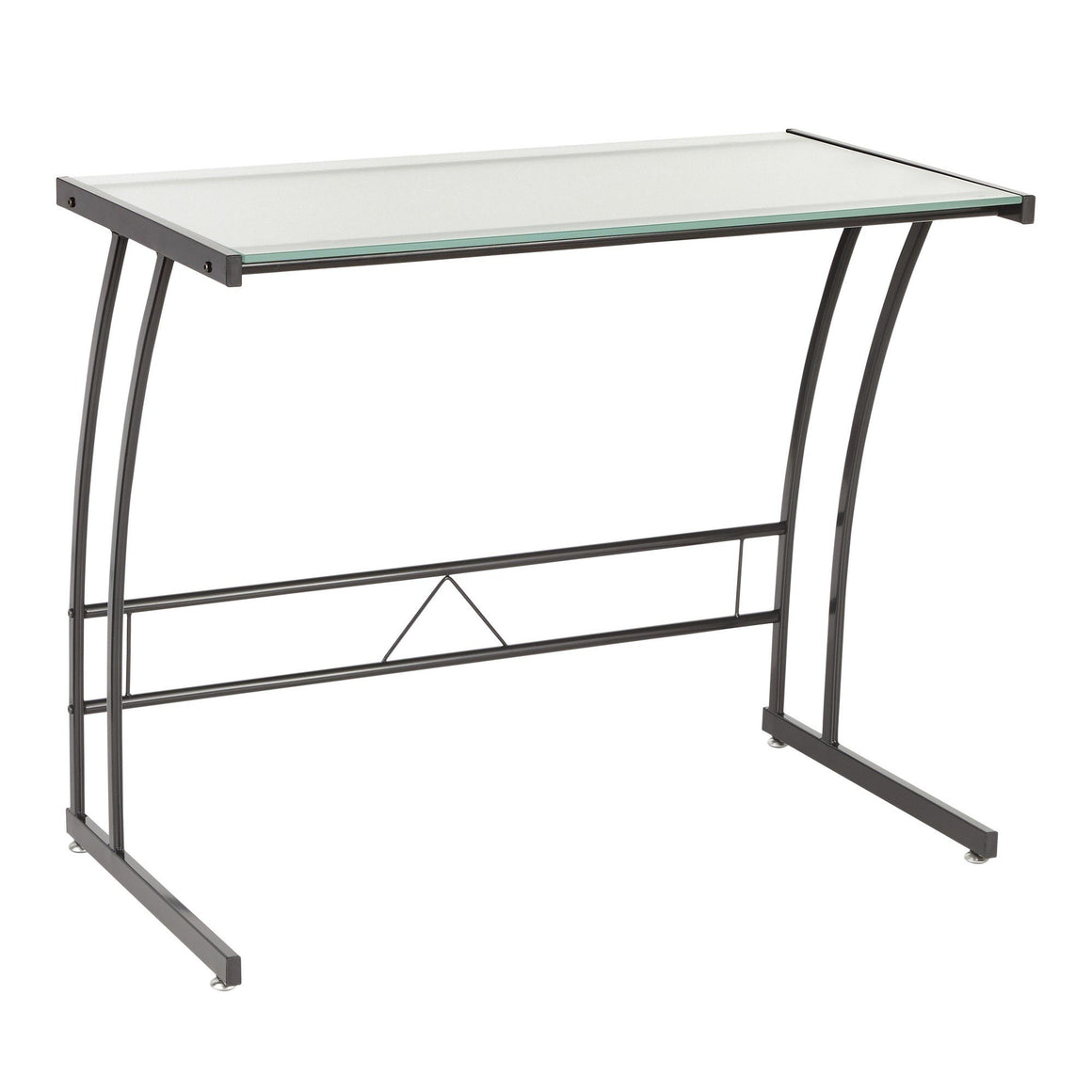 Sigma Contemporary Desk in Black Frame and White by LumiSource