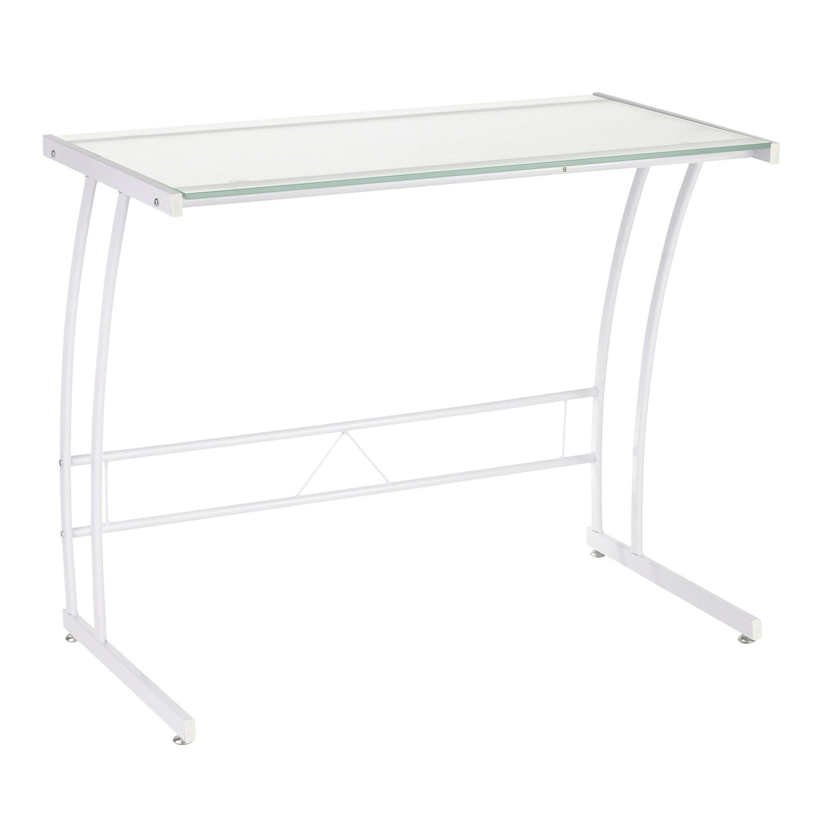 Sigma Contemporary Desk in White Frame and White by LumiSource