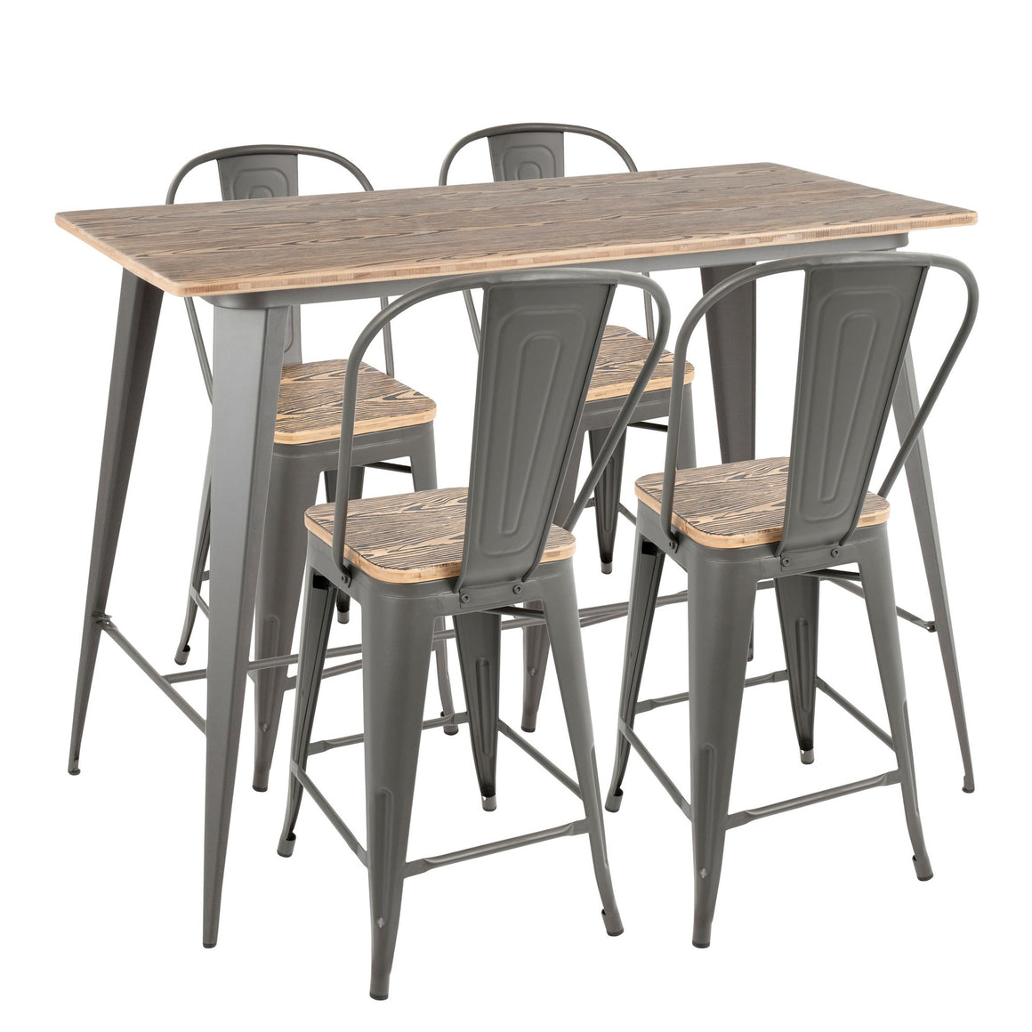 Oregon 5-Piece Industrial High Back Counter Set in Grey and Wood-Pressed Grain Bamboo by LumiSource