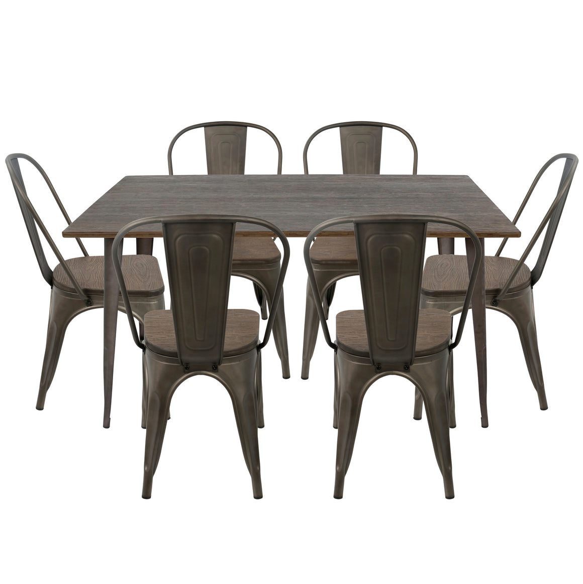 Oregon 7-Piece Industrial-Farmhouse Dining Set in Antique and Espresso by LumiSource