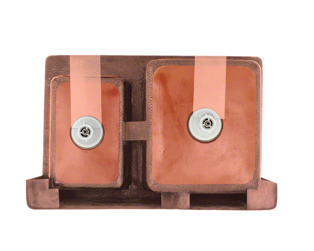 P119 Offset Double Bowl Copper Apron Sink