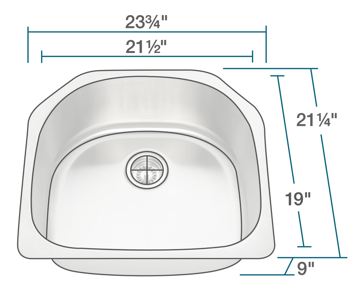 P1242 D-Bowl Stainless Steel Kitchen Sink