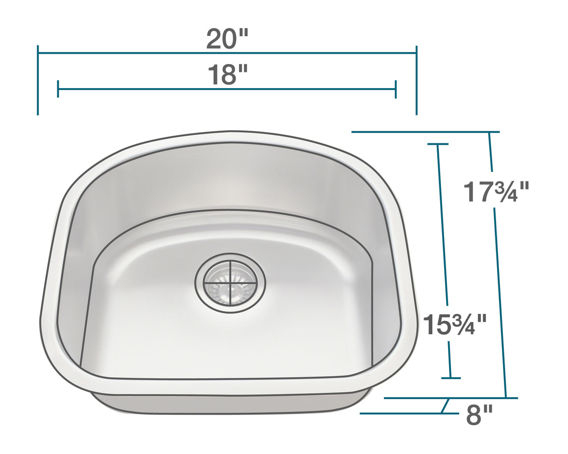 P812-16 D-Bowl Stainless Steel Sink