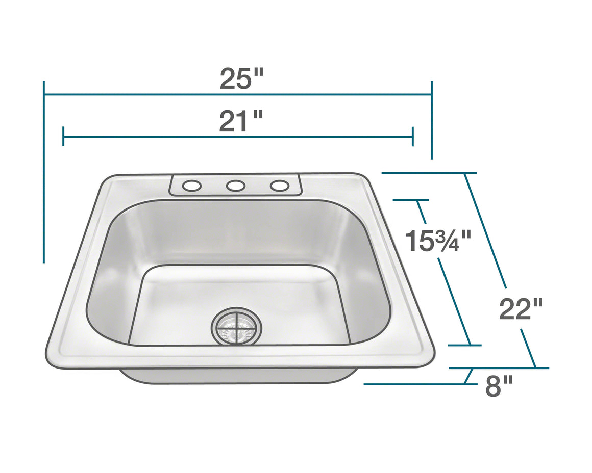 PT8301US Single Bowl Topmount Stainless Steel Sink