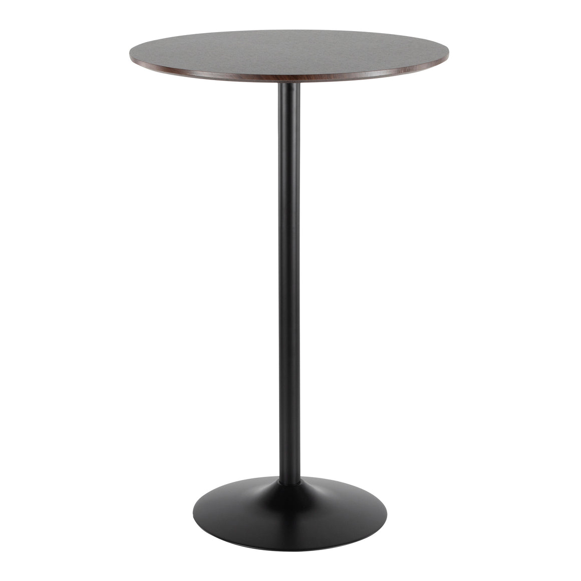 Pebble Mid-Century Modern Adjustable Dining to Bar Table in Black Metal and Espresso by LumiSource