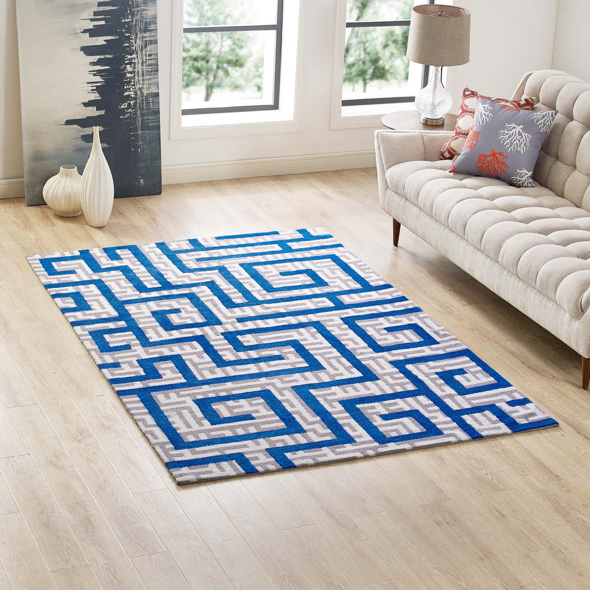Nahia Geometric Maze 5x8 Area Rug Ivory, Light Gray and Blue