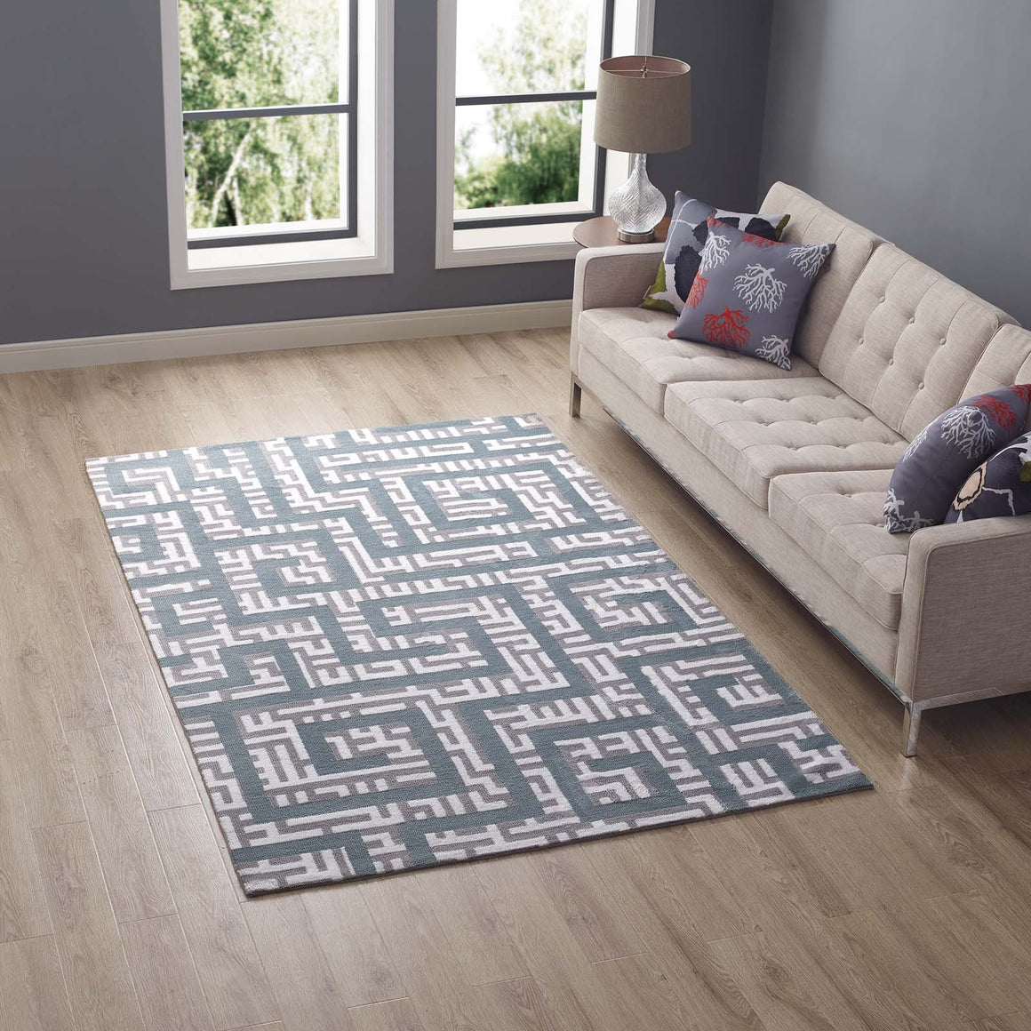 Nahia Geometric Maze 5x8 Area Rug Ivory, Light Gray and Sky Blue
