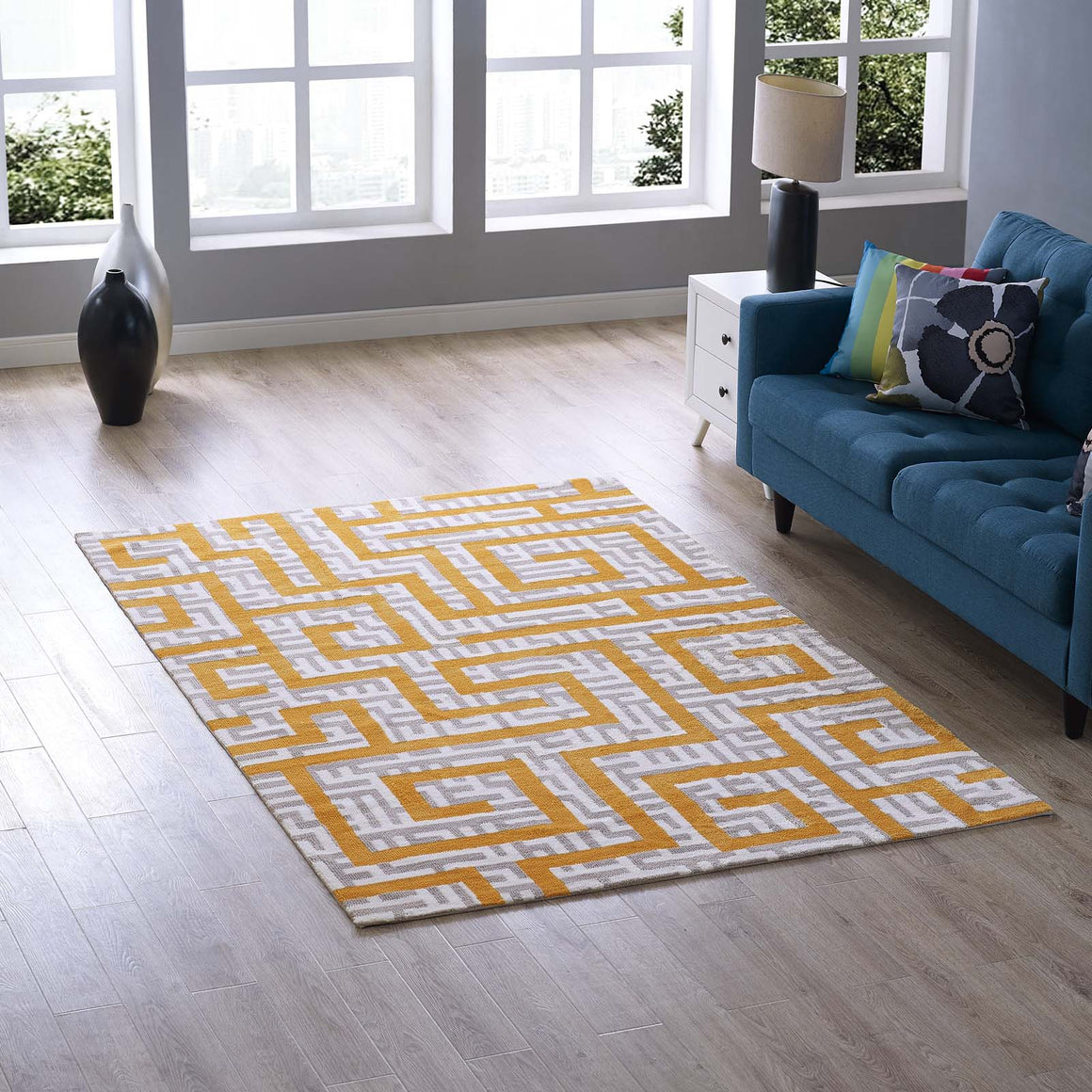 Nahia Geometric Maze 5x8 Area Rug Ivory, Light Gray and Banana Yellow