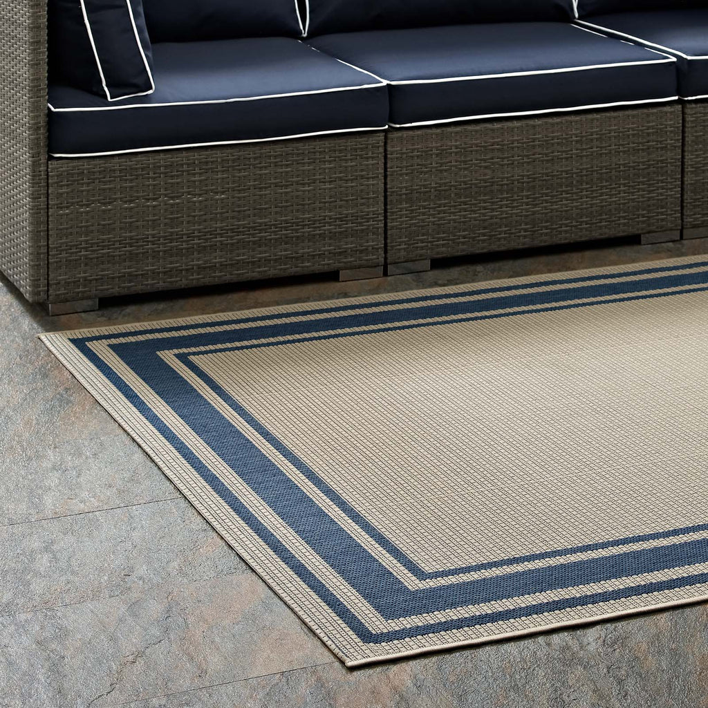 Rim Solid Border Borderline 5x8 Indoor And Outdoor Area Rug Blue And B Housetie