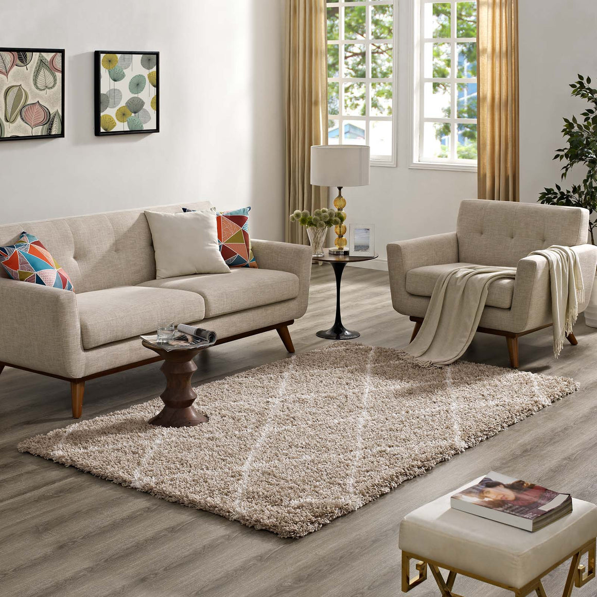 Enyssa Solid 5x8 Shag Area Rug  Beige and Ivory
