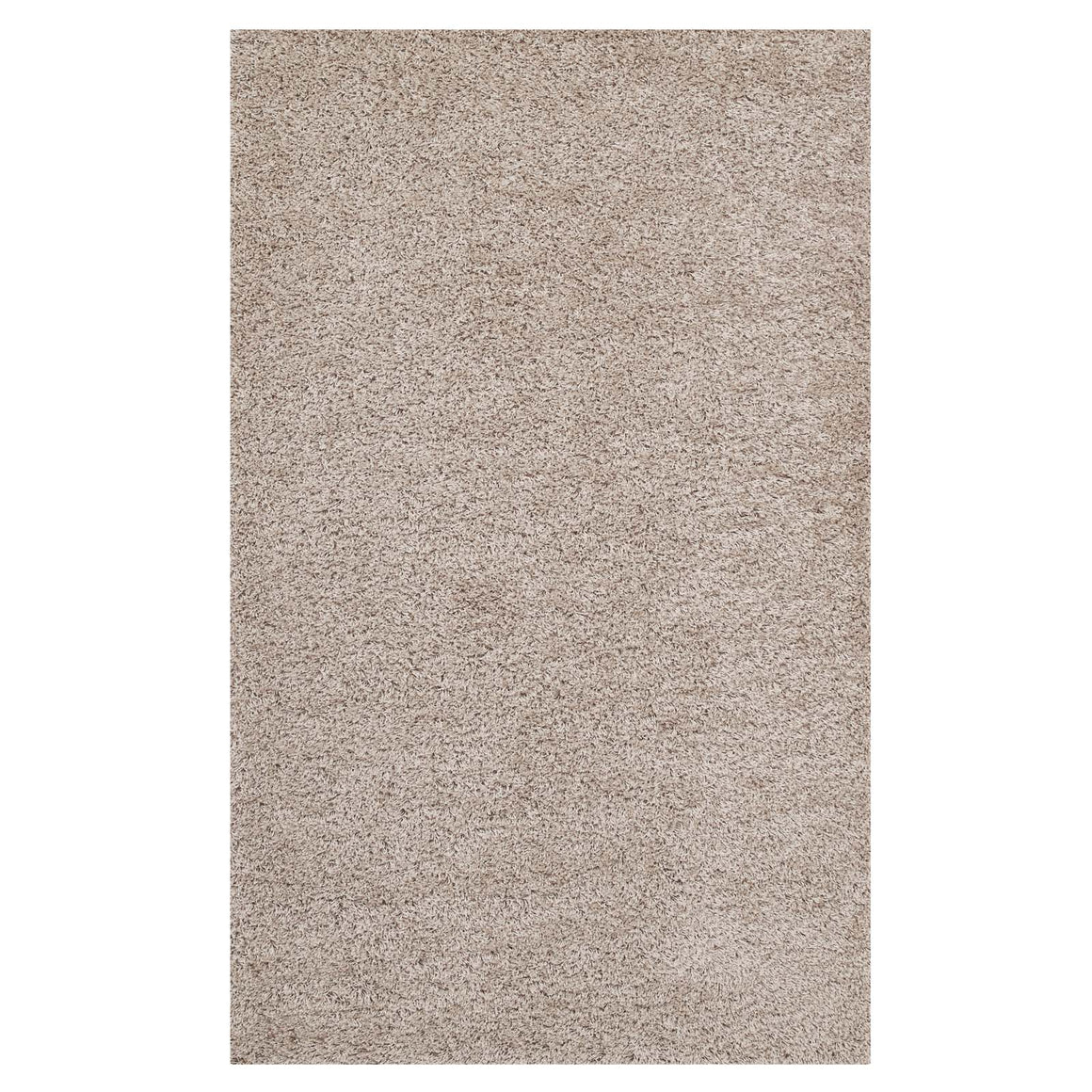 Enyssa Solid 8x10 Shag Area Rug  Beige and Ivory