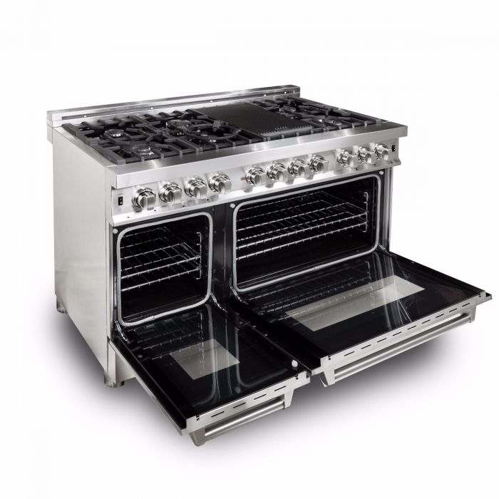 "ZLINE 48"" PROFESSIONAL STAINLESS STEEL 6.0 CU.FT. 7 GAS BURNER/ELECTRIC OVEN RANGE (RA48)"
