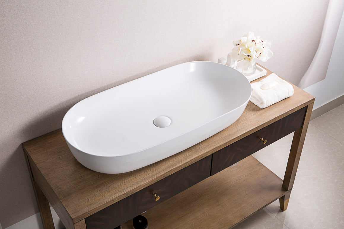 Ruvati RVB0432 32 x 16 inch Bathroom Vessel Sink White Oval Above Counter Vanity Porcelain Ceramic