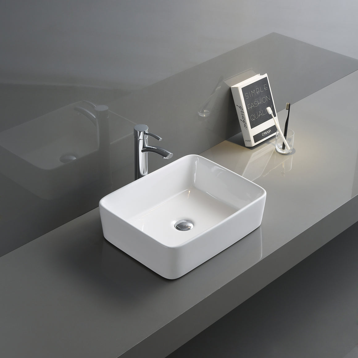 Ruvati 19 x 14 inch Bathroom Vessel Sink White Rectangular Above Vanity Counter Porcelain Ceramic