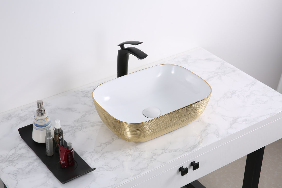 20 x 16 inch Bathroom Vessel Sink Gold Decorative Art Above Vanity Counter White Ceramic