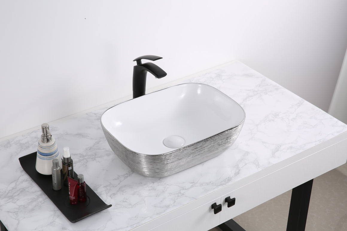 20 x 16 inch Bathroom Vessel Sink Silver Decorative Art Above Vanity Counter White Ceramic
