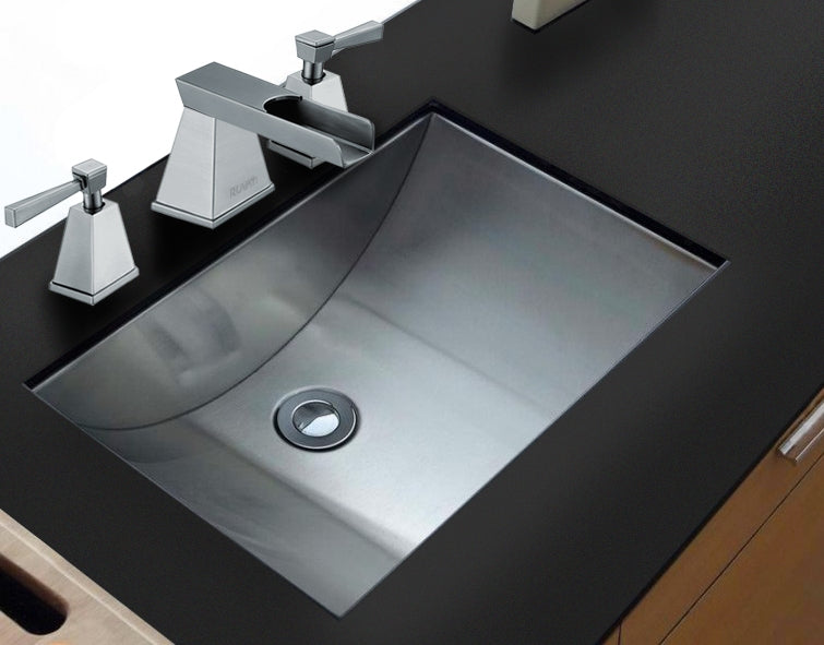 "Ruvati 21"" x 15""  Brushed Stainless Steel Rectangular Bathroom Sink Undermount - RVH6110"