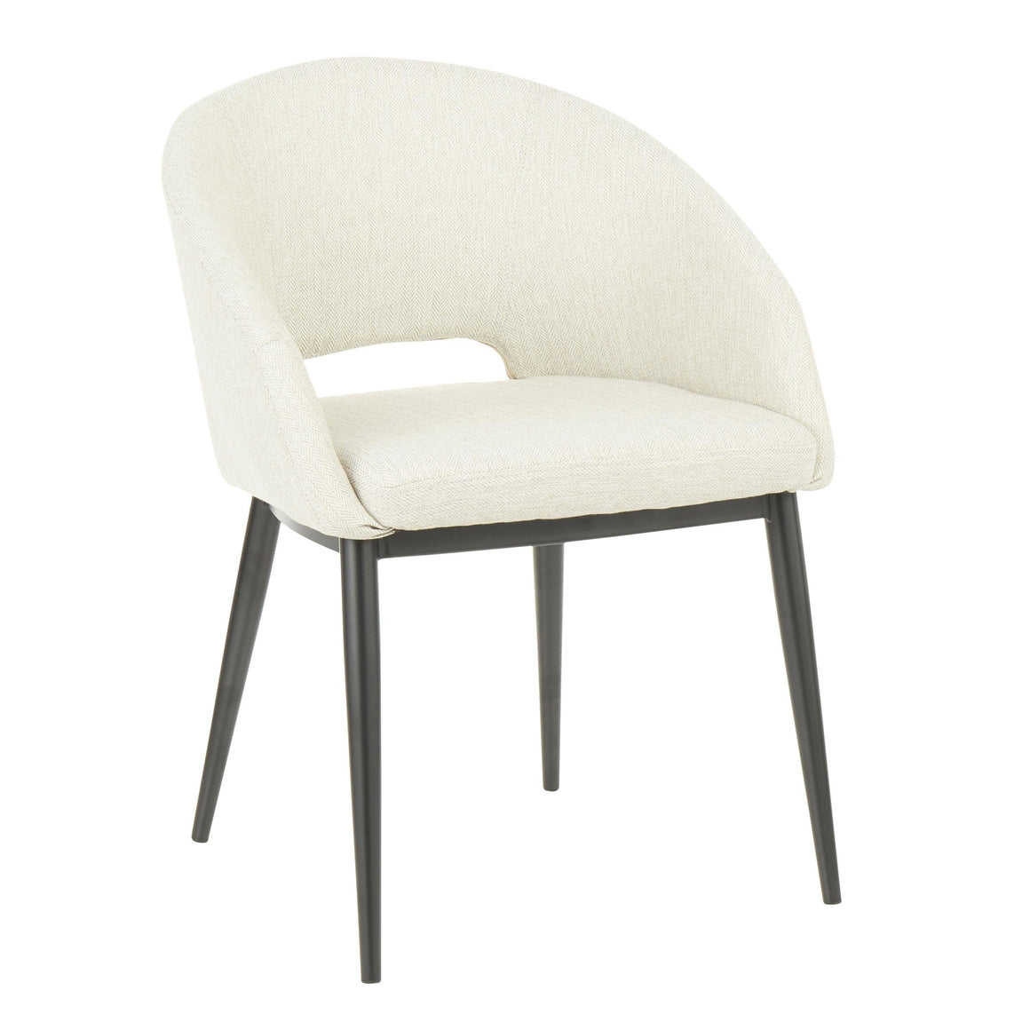 Renee Contemporary Chair in Black Metal Legs and Beige Fabric by LumiSource