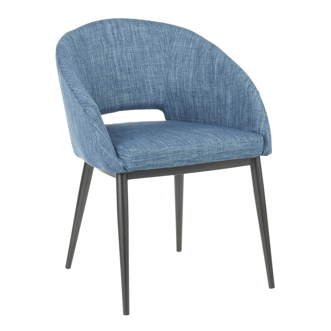 Renee Contemporary Chair in Black Metal Legs and Blue Fabric by LumiSource