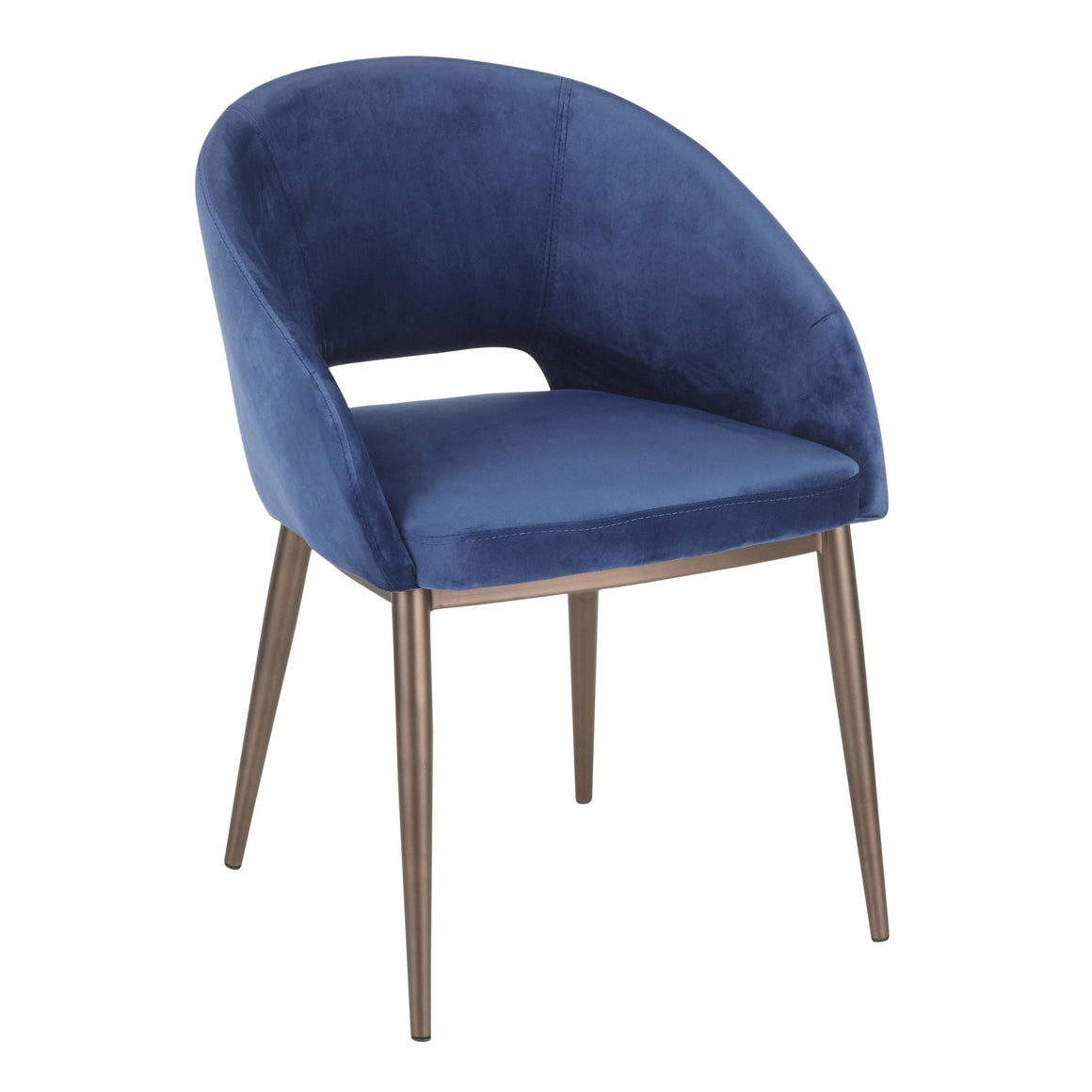 Renee Contemporary Chair in Copper Metal Legs with Blue Velvet by LumiSource