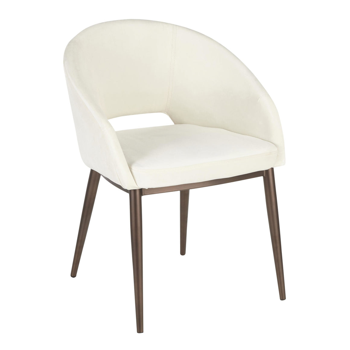 Renee Contemporary Chair in Copper Metal Legs with Cream Velvet by LumiSource