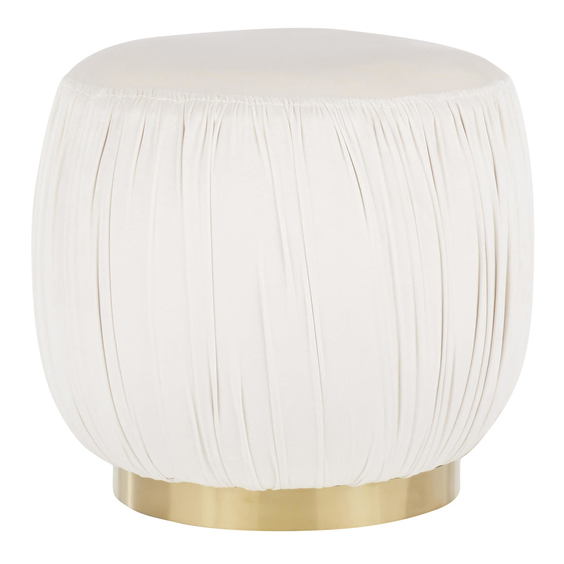 Ruched Contemporary Ottoman in Gold Metal and Cream Velvet by LumiSource
