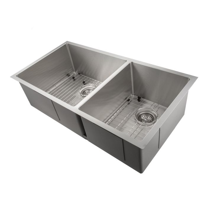 Zline Executive Series 36 Inch Undermount Double Bowl Sink In Stainless Steel Sr60d 36