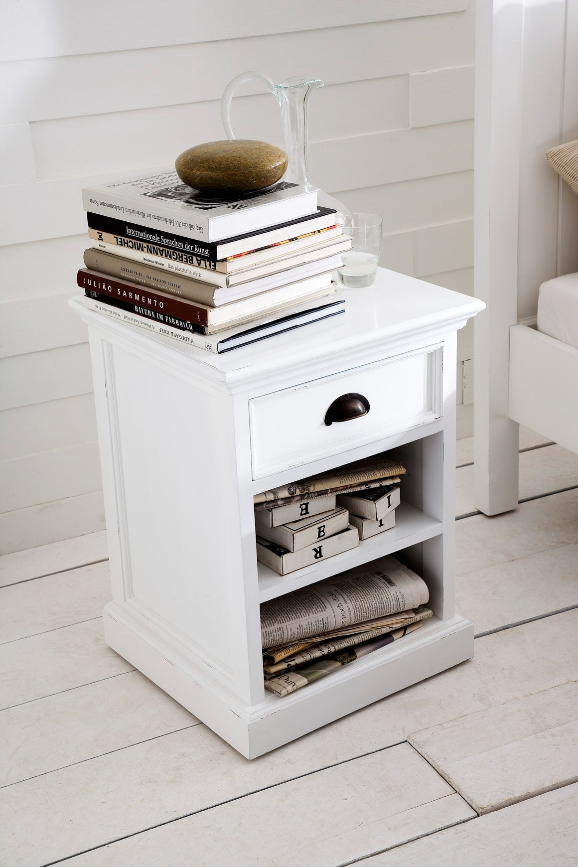 Halifax T764 Bedside Table With Shelves