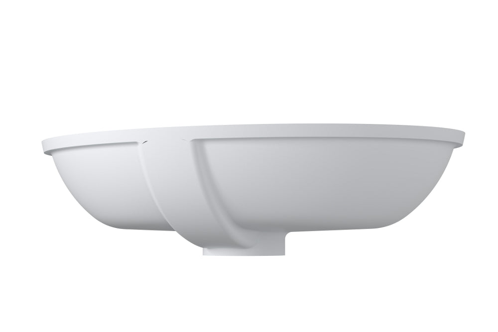 "23""x16""POLYSTONE  UNDERMOUNT OVAL SINK IN MATTE WHITE FINISH-NO FAUCET"