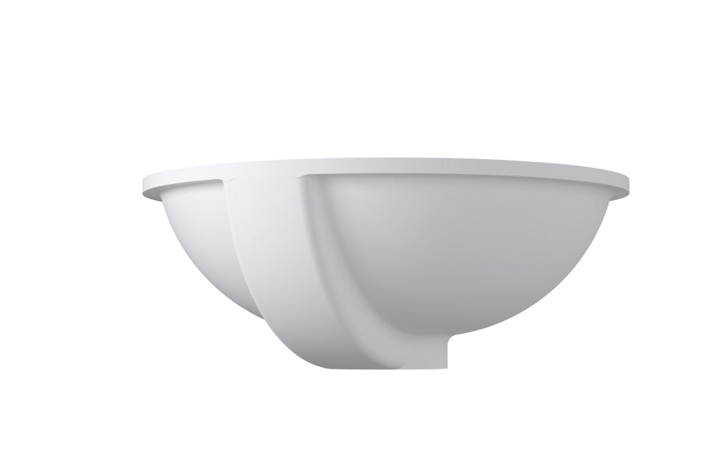 "20""x16""POLYSTONE UNDERMOUNT ROUND SINK IN GLOSSY WHITE FINISH-NO FAUCET"