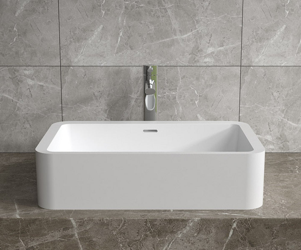 "23""x14""POLYSTONE RECTANGULAR VESSEL BATHROOM SINK WITH OVERFLOW IN MATTE WHITE FINISH-NO FAUCET"