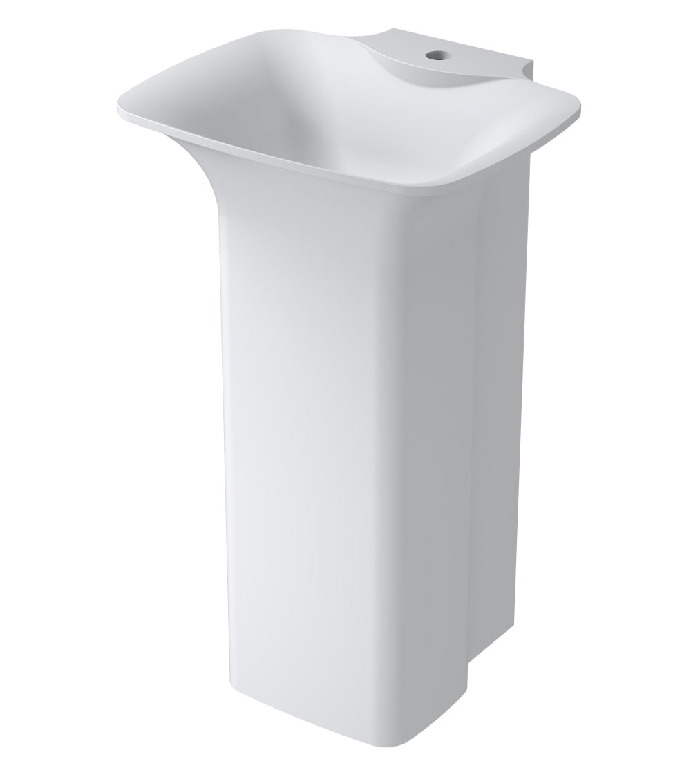 "20""POLYSTONE FREE STANDING BATHROOM SINK IN GLOSSY WHITE FINISH-NO FAUCET"