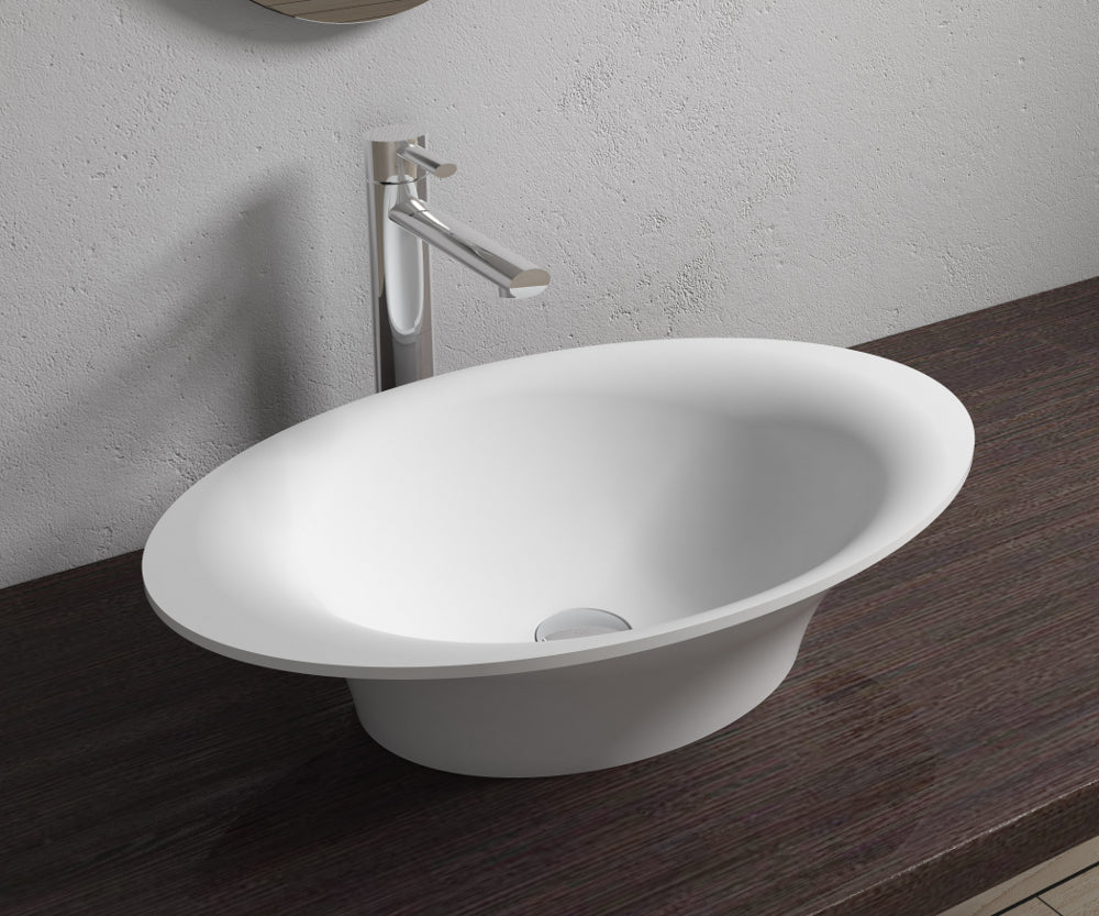 "23""x14""POLYSTONE OVAL VESSEL BATHROOM SINK IN MATTE WHITE FINISH-NO FAUCET"