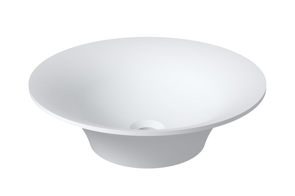 "17""x17""POLYSTONE ROUND VESSEL BATHROOM SINK IN MATTE WHITE FINISH-NO FAUCET"