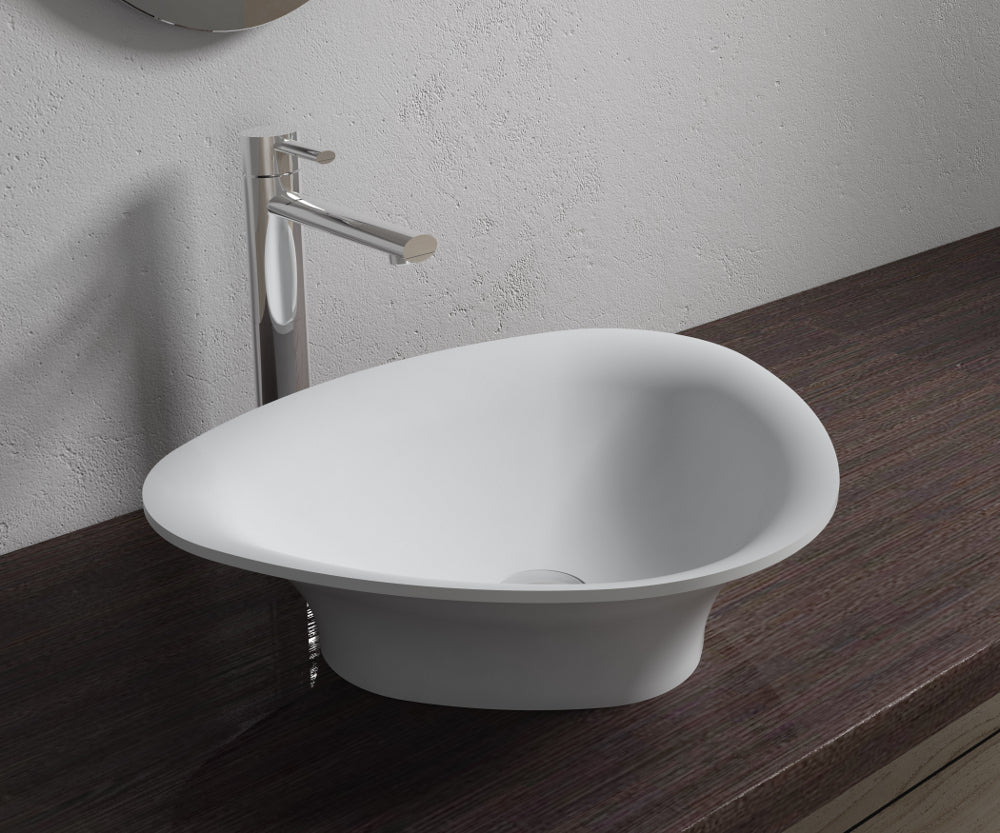 "20""x16""POLYSTONE TRIGON VESSEL BATHROOM SINK IN MATTE WHITE FINISH-NO FAUCET"
