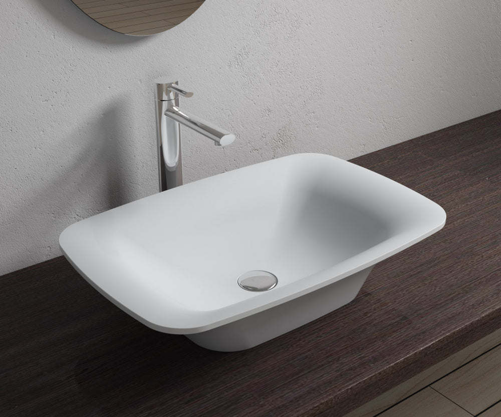 "22""x14""POLYSTONE RECTANGULAR VESSEL BATHROOM SINK IN MATTE WHITE FINISH-NO FAUCET"