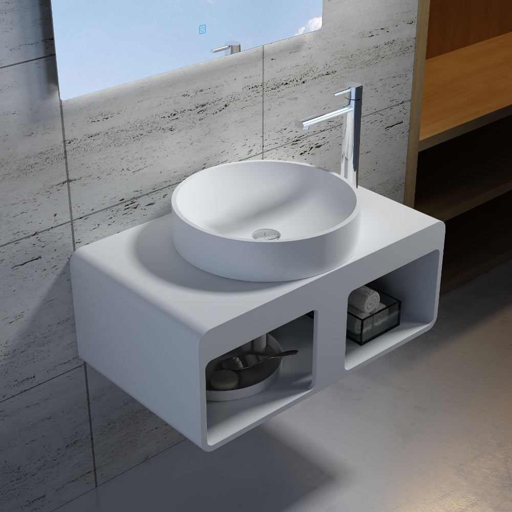 "17""x17""POLYSTONE ROUND VESSEL BATHROOM SINK IN GLOSSY WHITE FINISH-NO FAUCET"