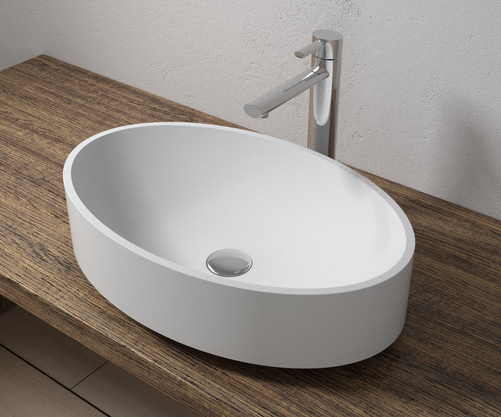 "22""x14""POLYSTONE OVAL VESSEL BATHROOM SINK IN MATTE WHITE FINISH-NO FAUCET"