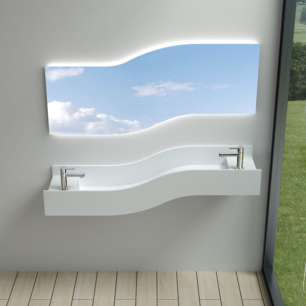 "55""POLYSTONE LEFT WAVE WALL MOUNTED SINK IN GLOSSY WHITE FINISH-NO FAUCET"